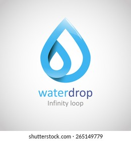 Water drop abstract infinite looped vector logo design template. Line art creative concept.