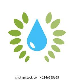 Water drop abstract nature mineral logo vector design illustration emblem isolated creative aqua