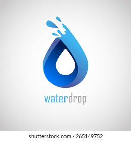 Water drop abstract vector logo design template. Liquid Splash Icon. Infinity loop.