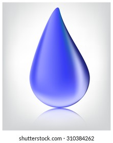 water drop. Blue realistic vector  on white background.