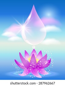 Water drop, clouds and lilies. Symbol of clean water.