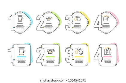 Water drop, Cold coffee and Latte icons simple set. Water bottles sign. Aqua, Ice cubes in beverage, Coffee beverage. Aqua drinks. Food and drink set. Infographic timeline. Line water drop icon