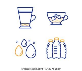 Water drop, Cold coffee and Latte icons simple set. Water bottles sign. Aqua, Ice cubes in beverage, Coffee beverage. Aqua drinks. Food and drink set. Linear water drop icon. Colorful design set