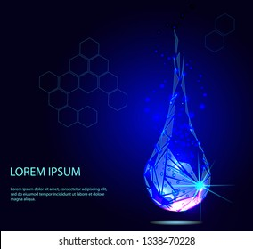 Water drop. Collagen serum droplet with particles. Beauty illustration of collagen serum. Cosmetic skin care treatment design - stock vector. Drawn low poly vector illustration, polygonal concept.