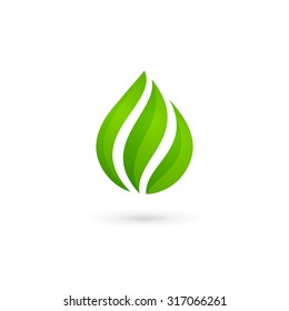 Water drop eco leaves logo design template icon. May be used in ecological, medical, chemical, food and oil design.