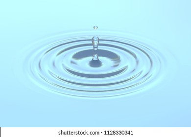 Water drop falling on water surface background