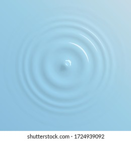 Water drop falling on water surface, top view background