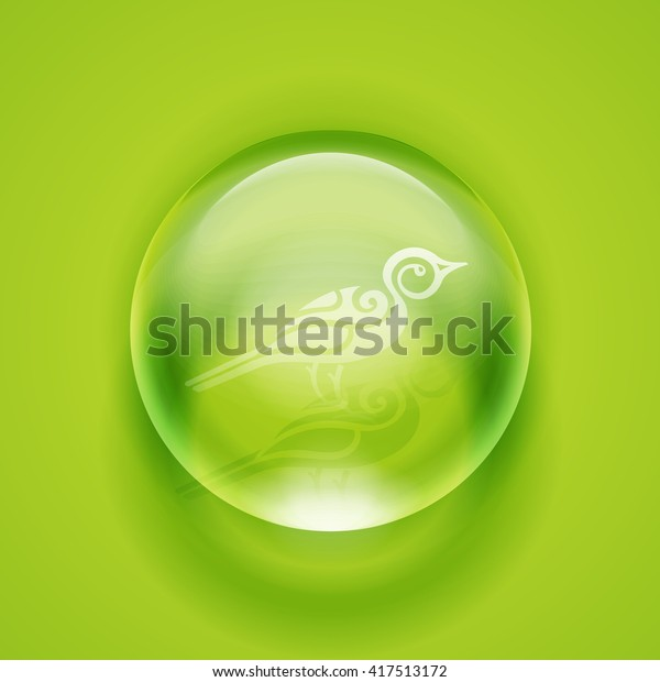 Water drop. Glass sphere. Bubble. Glass ball. Realistic vector Vector illustration