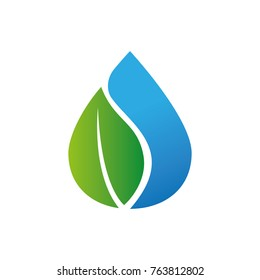 water drop green tree leaf natural logo template