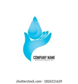 Water drop in Hand Logo design vector template. Save Aqua icon. Water drop liquid Oil Logotype concept icon.