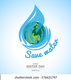 Water drop in hand logo design with earth for World Water Day