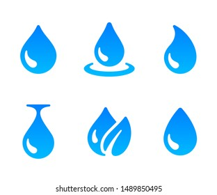 Water drop icon. Blue water droplet logo design