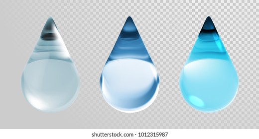 Water drop icon isolated on transparent background. Vector 3d realistic clean blue water droplets for moisturizer cream or hyaluronic essence and skincare collagen cosmetic or earth ecology design