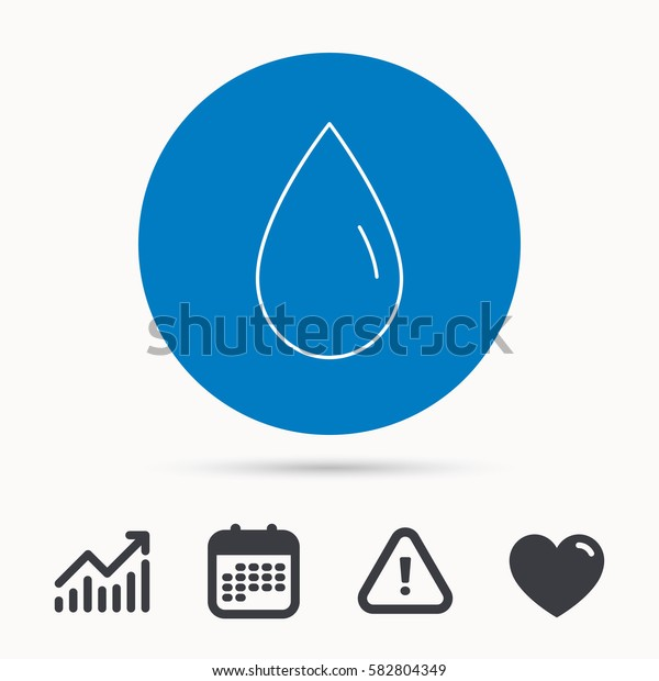 Water drop icon. Liquid sign. Freshness, condensation or washing symbol. Calendar, attention sign and growth chart. Button with web icon. Vector
