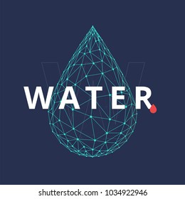 Water drop icon made with blockchain technology network polygon isolated on dark blue background. Connection structure of droplet or raindrop. Low poly design.