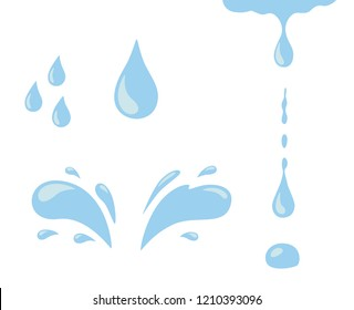 Water drop icon set. Blue spray, tear