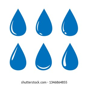 Water drop icons collection. Vector design elements.