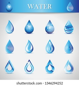 Water Drop Icons - Isolated On Gray Background. Vector Illustration Of Water Drop Icons. Set For Websites, Label, Logo Template And Design Elements