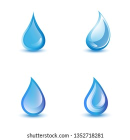 Water Drop Icons - Isolated On White Background. Set For Websites, Label, Logo Template And Design Elements