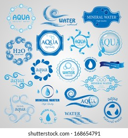 Water And Drop Icons Set - Isolated On Gray Background - Vector Illustration, Graphic Design Editable For Your Design.