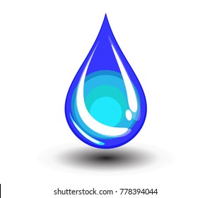 Water drop illustration isolated on white background.