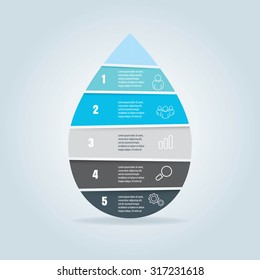 water drop infographic diagram template for presentation, chart, brochure