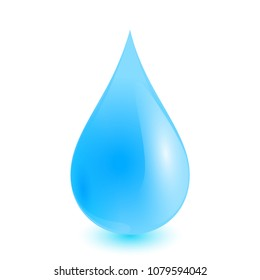 Water drop isolated on white background as nature or healthy food concept. vector illustration.