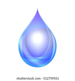 Water drop isolated on white background. Vector Illustration