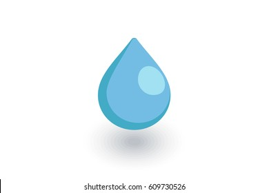 water drop isometric flat icon. 3d vector colorful illustration. Pictogram isolated on white background
