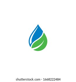 Water Drop and Leaf logo  icon design