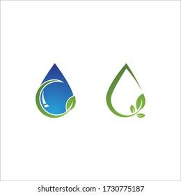 Water drop and leaf Logo Template vector