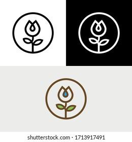 Water Drop Leaf Nature Flower Logo