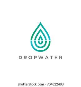 water drop leaf nature logo design template