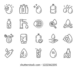 Water drop line icons. Set of Bottle, Antibacterial filter and Tap water linear icons. Bacteria, Cooler and Refill barrel bottle. Liquid drop, antibacterial cleaner and drink machine. Vector