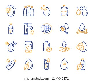 Water drop line icons. Set of Bottle, Antibacterial filter and Tap water linear icons. Bacteria, Cooler and Refill barrel bottle. Liquid drop, antibacterial cleaner and drink machine, tap. Vector