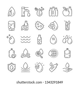 Water drop line icons. Set of Antibacterial filter, Bottle and Tap water linear icons. Bacteria, Cooler and Refill barrel bottle. Liquid drop, antibacterial cleaner and drink machine, tap. Vector