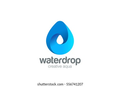 Water drop Logo design 3D vector template. Infinite Aqua droplet Logotype idea