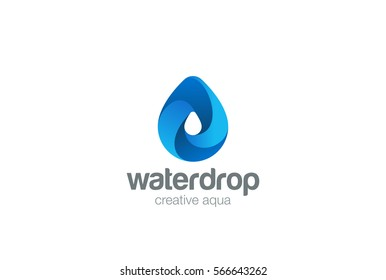 Water drop Logo design 3D vector template. Waterdrop icon. Infinite Aqua droplet Logotype idea