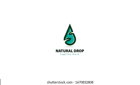 the water drop logo design is combined with the leaf symbol from natural. vector