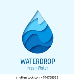 Water drop logo design template. Vector abstract waterdrop paper cut style logotype. Save water - ecology concept