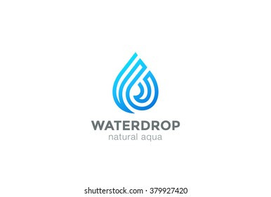 Water drop Logo design vector linear infinite shape. Waterdrop Aqua droplet Logotype icon.