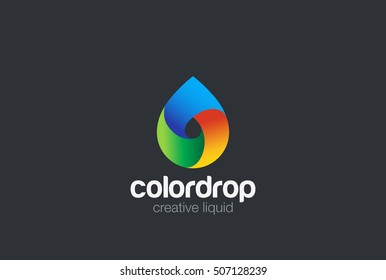 Water drop Logo design vector template. Liquid Droplet colorful Logotype concept icon