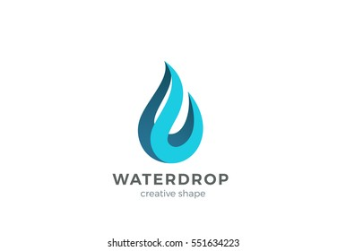 Water drop Logo design vector template. Wave concept. Waterdrop icon. Aqua droplet Logotype idea