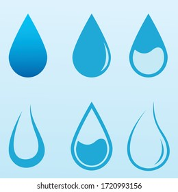 Water drop logo and icon set vector, water drop symbol