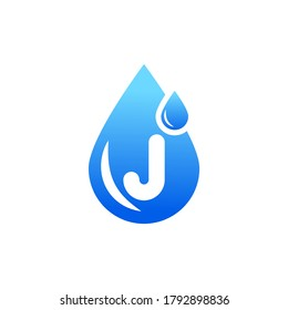 Water drop logo with j letter.J letter water drop logo.Blue water drop J letter logo.J letter logo with water drop