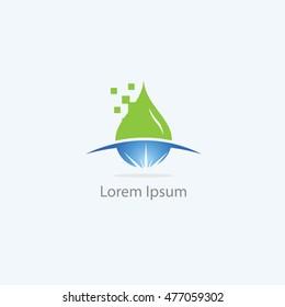 Water drop logo, oil, petrol vector design, natural drop