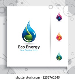 water drop logo vector design with modern style and simple colorful concepts , symbol icon 3d fresh water and green leaf for healthy and industry company.