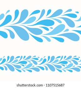 Water drop on white background.Stylized seamless pattern of blue drops