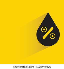 water drop and percent rate with shadow on yellow background