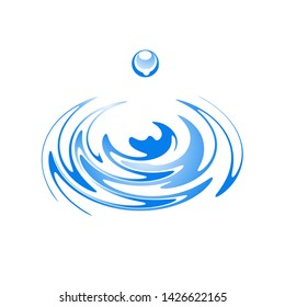 Water drop and ripple effect graphic design